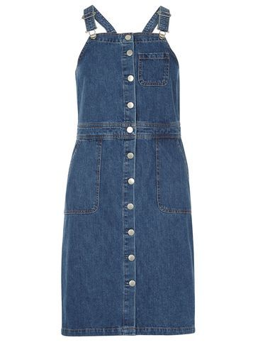 Womens Dungaree Button Through Dress Blue - pattern: plain; sleeve style: sleeveless; style: dungaree dress/pinafore; predominant colour: navy; occasions: casual; length: just above the knee; fit: body skimming; fibres: cotton - 100%; sleeve length: sleeveless; texture group: denim; neckline: medium square neck; pattern type: fabric; season: s/s 2016; wardrobe: highlight