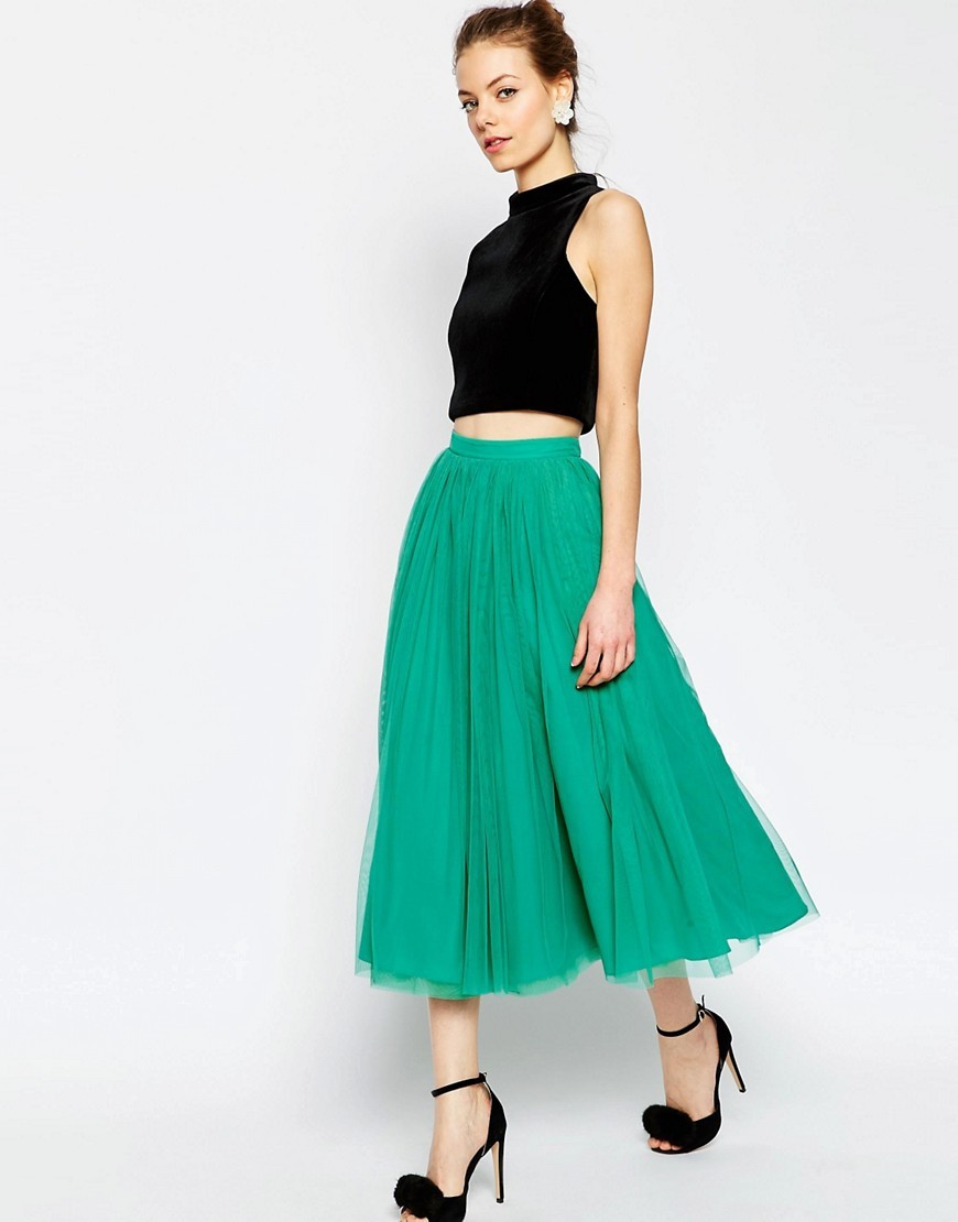 Tulle Prom Skirt With Multi Layers Green - length: below the knee; pattern: plain; style: full/prom skirt; fit: loose/voluminous; waist: high rise; predominant colour: emerald green; fibres: polyester/polyamide - 100%; occasions: occasion; hip detail: subtle/flattering hip detail; pattern type: fabric; texture group: net/tulle; season: s/s 2016; wardrobe: event
