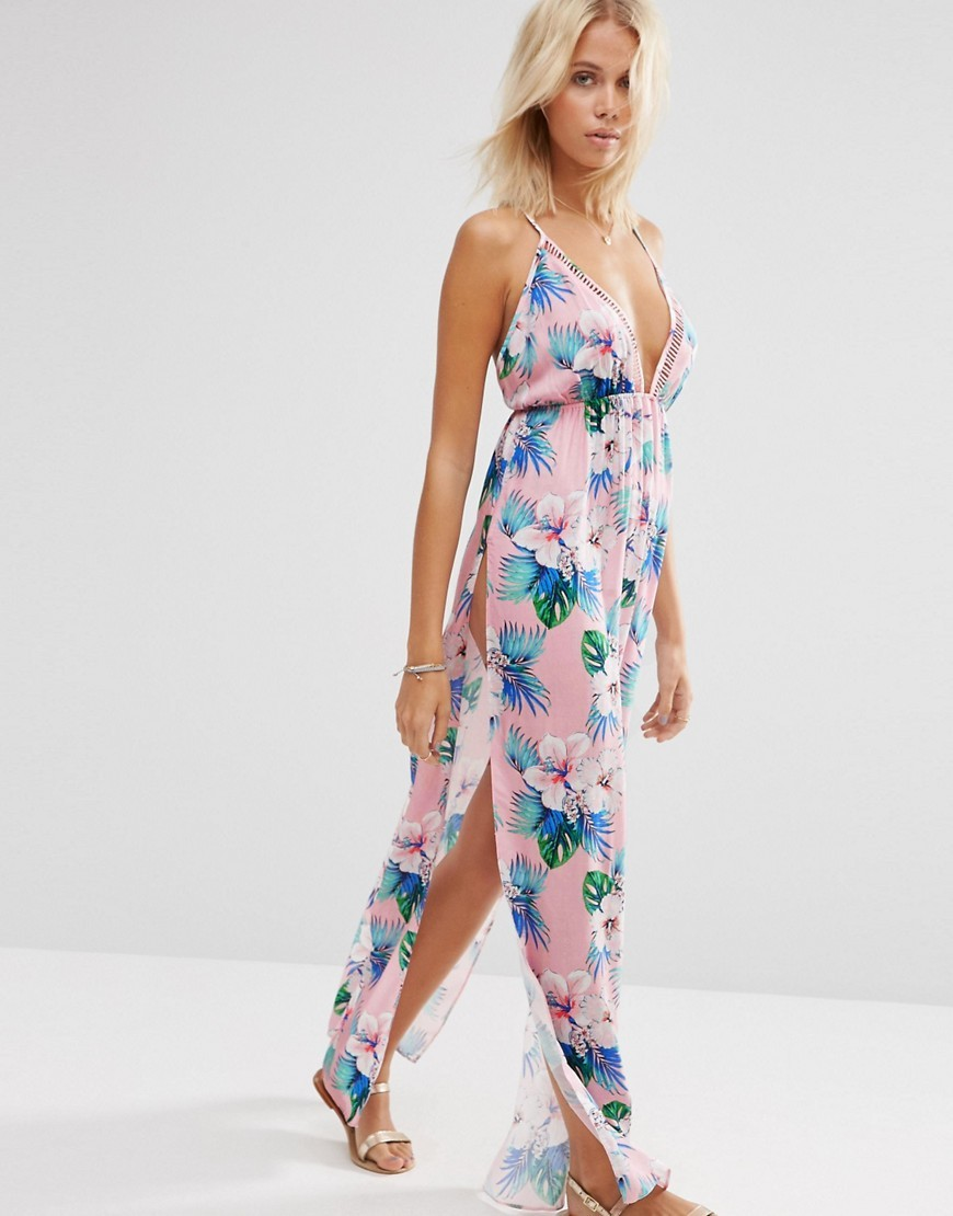 As0 S Pastel Hawaian Tropical Lattice V Neck Maxi Beach Dress Pastel Hawaian Tropi - neckline: v-neck; sleeve style: spaghetti straps; style: maxi dress; predominant colour: blush; secondary colour: diva blue; occasions: evening; length: floor length; fit: body skimming; fibres: viscose/rayon - 100%; sleeve length: sleeveless; pattern type: fabric; pattern: florals; texture group: jersey - stretchy/drapey; multicoloured: multicoloured; season: s/s 2016; wardrobe: event