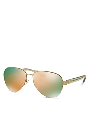 Mirrored Rimless Aviator Sunglasses, 59mm - predominant colour: gold; style: aviator; size: standard; material: chain/metal; pattern: plain; occasions: holiday; finish: metallic; season: s/s 2016; wardrobe: basic