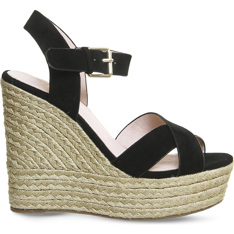Ahoy Suede Wedge Sandals, Women's, Black Suede - secondary colour: stone; predominant colour: black; occasions: casual, holiday; material: suede; ankle detail: ankle strap; heel: wedge; toe: open toe/peeptoe; style: strappy; finish: plain; pattern: colourblock; heel height: very high; shoe detail: platform; season: s/s 2016; wardrobe: highlight