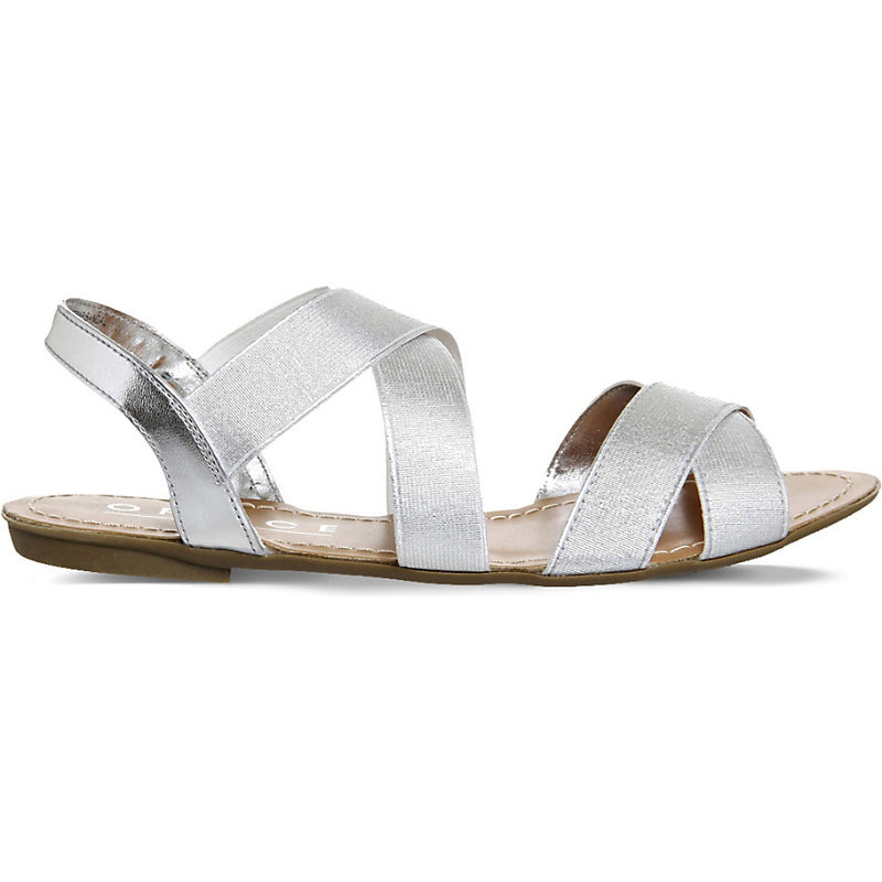Bermuda Metallic Slingback Sandals, Women's, Silver - predominant colour: silver; occasions: casual, holiday; material: faux leather; heel height: flat; ankle detail: ankle strap; heel: block; toe: toe thongs; style: strappy; finish: metallic; pattern: plain; season: s/s 2016