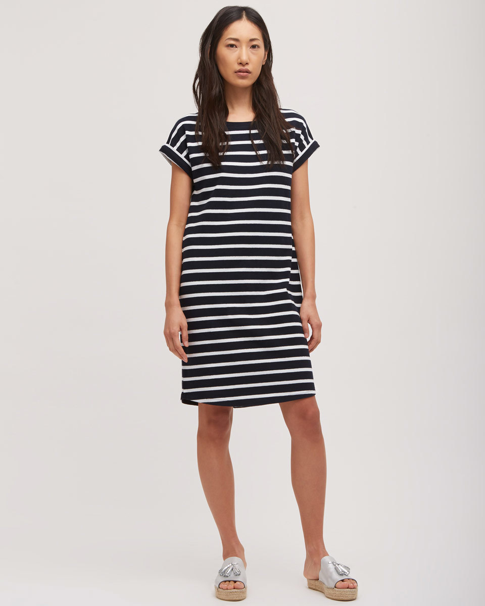 T Shirt Short Sleeve Breton Dress - style: t-shirt; pattern: horizontal stripes; secondary colour: white; predominant colour: navy; occasions: casual; length: on the knee; fit: body skimming; fibres: cotton - stretch; neckline: crew; sleeve length: short sleeve; sleeve style: standard; pattern type: fabric; pattern size: standard; texture group: jersey - stretchy/drapey; season: s/s 2016; wardrobe: basic