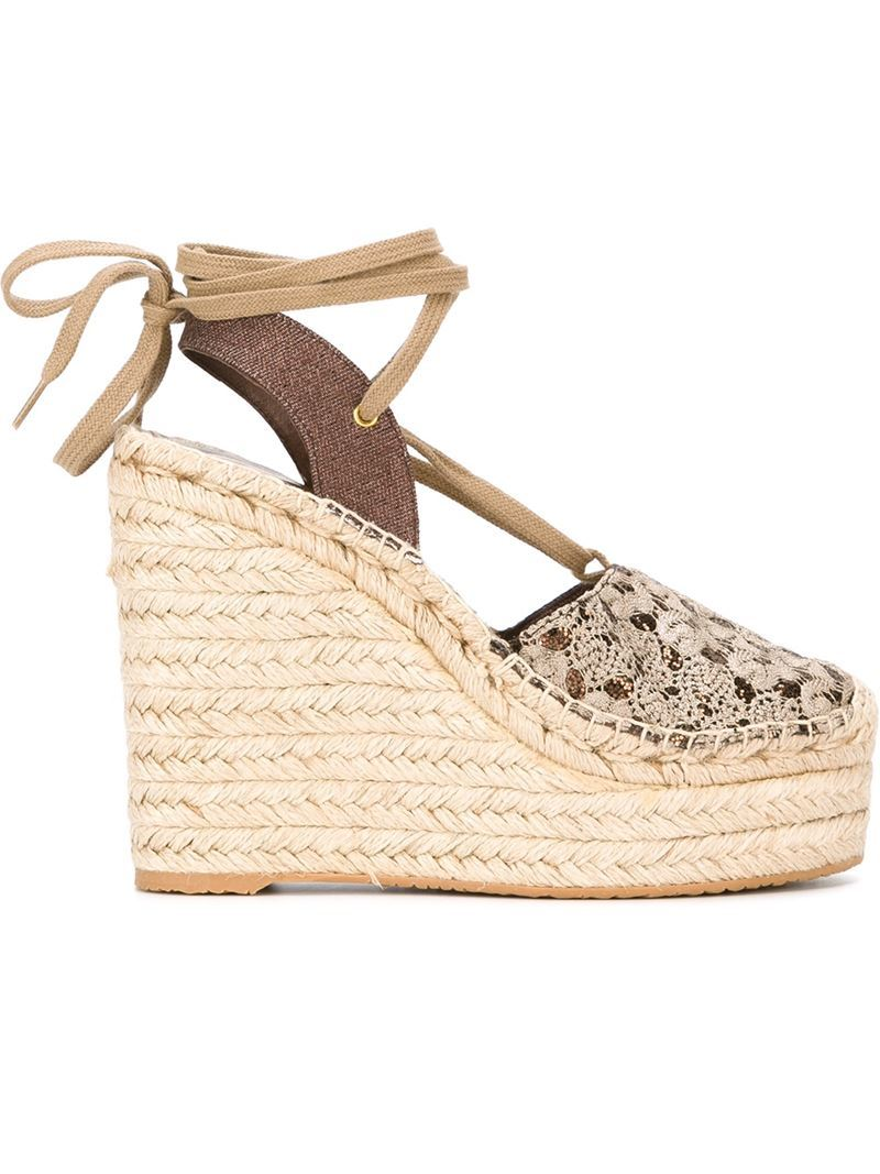 'tessabis' Wedge Espadrilles, Women's, Size: 39, Nude/Neutrals - predominant colour: nude; occasions: casual, holiday; material: leather; heel: wedge; style: strappy; finish: plain; pattern: plain; heel height: very high; toe: caged; season: s/s 2016