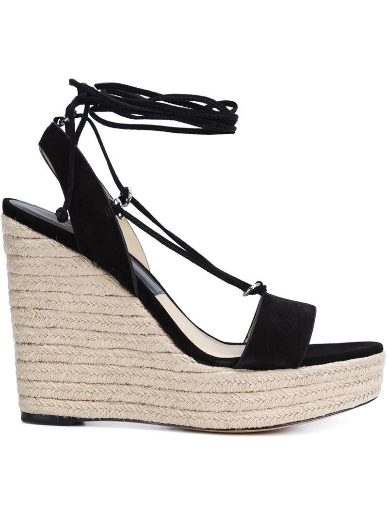 Lace Up Wedge Sandals, Women's, Black - predominant colour: black; occasions: casual, holiday; material: suede; heel: wedge; toe: open toe/peeptoe; style: strappy; finish: plain; pattern: plain; heel height: very high; season: s/s 2016; wardrobe: investment
