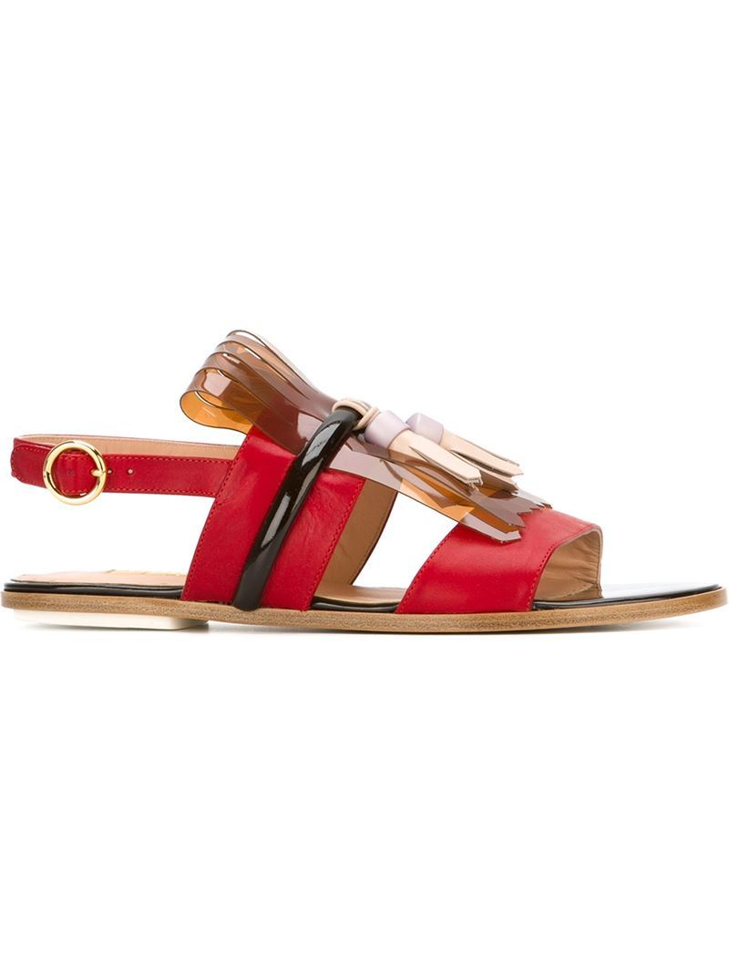 Embellished Gold Tone Buckled Sandals, Women's, Size: 36.5, Red - predominant colour: true red; occasions: casual, holiday; material: leather; heel height: flat; heel: block; toe: open toe/peeptoe; style: strappy; finish: plain; pattern: plain; season: s/s 2016