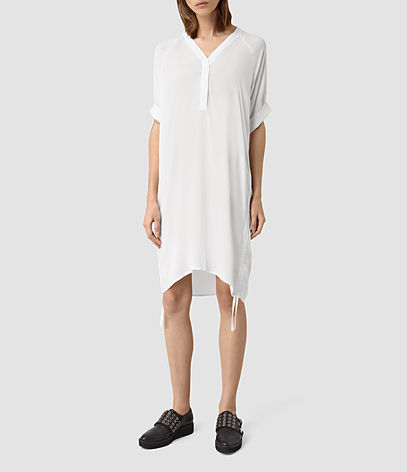 Isle Dress - style: t-shirt; neckline: v-neck; sleeve style: dolman/batwing; fit: loose; pattern: plain; predominant colour: white; occasions: casual; length: just above the knee; fibres: viscose/rayon - 100%; sleeve length: half sleeve; pattern type: fabric; texture group: jersey - stretchy/drapey; season: s/s 2016; wardrobe: basic