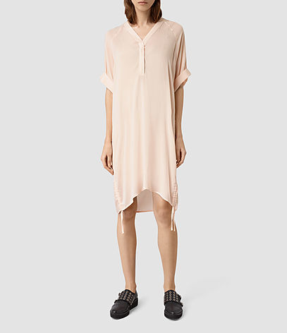 Isle Dress - style: t-shirt; neckline: v-neck; fit: loose; pattern: plain; predominant colour: blush; occasions: casual, creative work; length: just above the knee; fibres: viscose/rayon - 100%; sleeve length: half sleeve; sleeve style: standard; pattern type: fabric; texture group: other - light to midweight; season: s/s 2016; wardrobe: basic