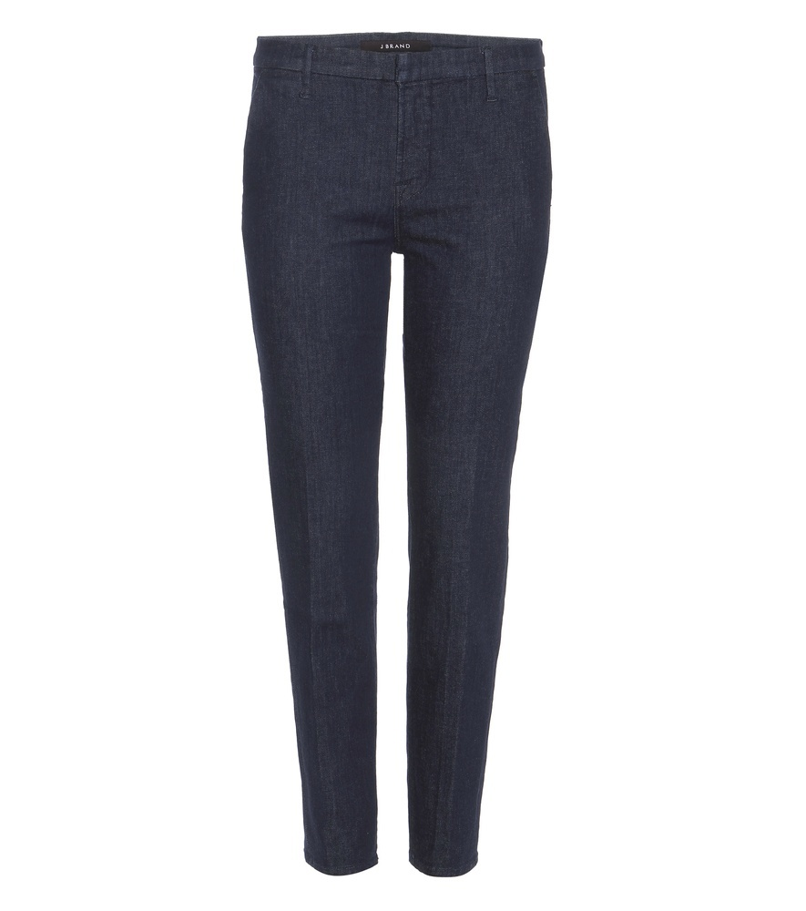 Cleo Mid Rise Cropped Cotton Trousers - pattern: plain; waist: mid/regular rise; predominant colour: navy; occasions: casual, creative work; length: ankle length; fibres: cotton - 100%; texture group: cotton feel fabrics; fit: slim leg; pattern type: fabric; style: standard; season: s/s 2016; wardrobe: basic