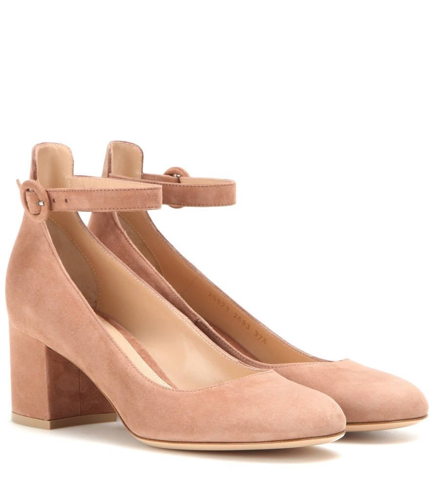 Suede Pumps - predominant colour: nude; occasions: work, creative work; material: suede; heel height: mid; ankle detail: ankle strap; heel: block; toe: round toe; style: courts; finish: plain; pattern: plain; season: s/s 2016