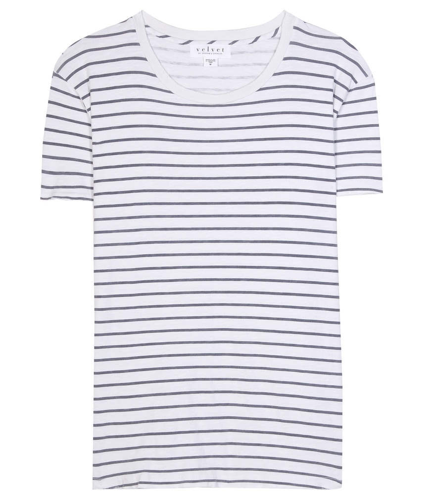 Henni Cotton T Shirt - neckline: round neck; pattern: horizontal stripes; style: t-shirt; secondary colour: white; predominant colour: navy; occasions: casual; length: standard; fibres: cotton - 100%; fit: straight cut; sleeve length: short sleeve; sleeve style: standard; pattern type: fabric; texture group: jersey - stretchy/drapey; pattern size: big & busy (top); season: s/s 2016; wardrobe: basic