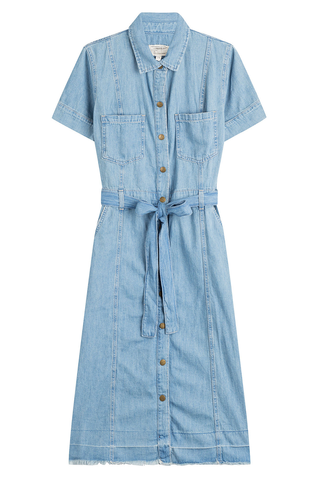 Belted Denim Shirt Dress Blue - style: shirt; neckline: shirt collar/peter pan/zip with opening; pattern: plain; waist detail: belted waist/tie at waist/drawstring; predominant colour: denim; occasions: casual; length: on the knee; fit: body skimming; fibres: cotton - 100%; sleeve length: short sleeve; sleeve style: standard; texture group: denim; pattern type: fabric; season: s/s 2016