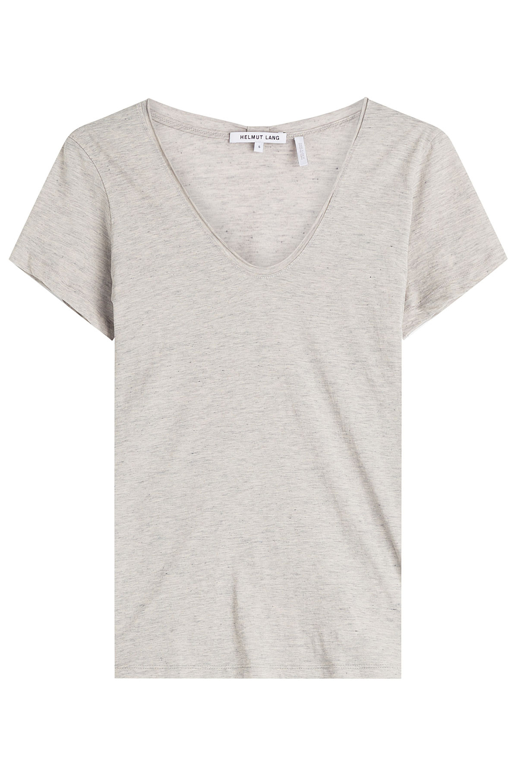 Cotton T Shirt With Cashmere Grey - neckline: v-neck; pattern: plain; style: t-shirt; predominant colour: light grey; occasions: casual; length: standard; fibres: cotton - 100%; fit: body skimming; sleeve length: short sleeve; sleeve style: standard; pattern type: fabric; texture group: jersey - stretchy/drapey; season: s/s 2016; wardrobe: basic