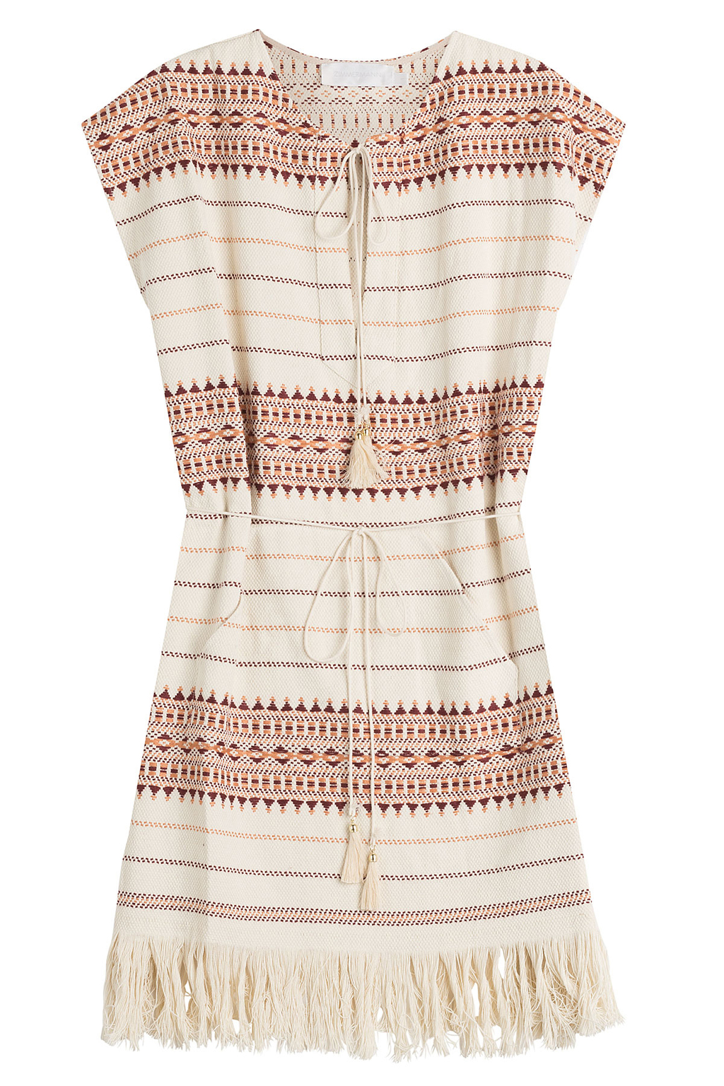 Embroidered Cotton Tunic - sleeve style: capped; length: below the bottom; style: tunic; waist detail: belted waist/tie at waist/drawstring; predominant colour: ivory/cream; occasions: casual, holiday; fibres: cotton - 100%; fit: body skimming; neckline: crew; sleeve length: sleeveless; texture group: cotton feel fabrics; pattern type: fabric; pattern size: standard; pattern: patterned/print; multicoloured: multicoloured; season: s/s 2016; wardrobe: highlight