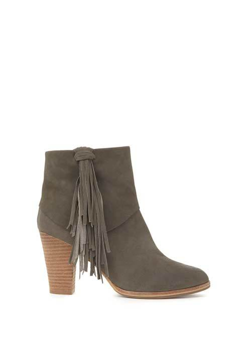 Grey Violet Tassel Ankle Boot - predominant colour: mid grey; occasions: casual, creative work; material: suede; heel height: high; embellishment: tassels; heel: block; toe: round toe; boot length: ankle boot; style: cowboy; finish: plain; pattern: plain; season: s/s 2016; wardrobe: highlight