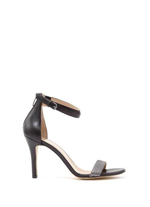 Black & Pewter Fleur Leather Double Ankle Strap - predominant colour: black; occasions: evening, occasion; material: leather; heel height: high; ankle detail: ankle strap; heel: stiletto; toe: open toe/peeptoe; style: standard; finish: plain; pattern: plain; secondary colour: pewter; season: s/s 2016; wardrobe: event