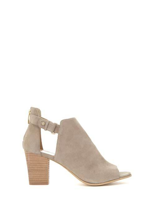 Stone Cece Cut Out Shoe Boot - predominant colour: stone; occasions: casual, creative work; material: suede; heel height: high; heel: block; toe: open toe/peeptoe; boot length: ankle boot; finish: plain; pattern: plain; style: cut outs; season: s/s 2016; wardrobe: highlight