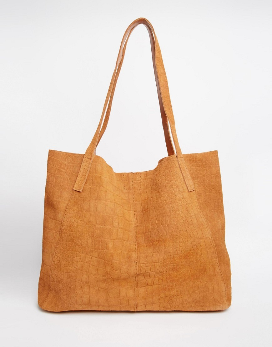 Suede Embossed Croc Shopper Bag Tan - predominant colour: tan; occasions: casual, creative work; type of pattern: standard; style: tote; length: handle; size: standard; material: leather; pattern: plain; finish: plain; season: s/s 2016; wardrobe: highlight