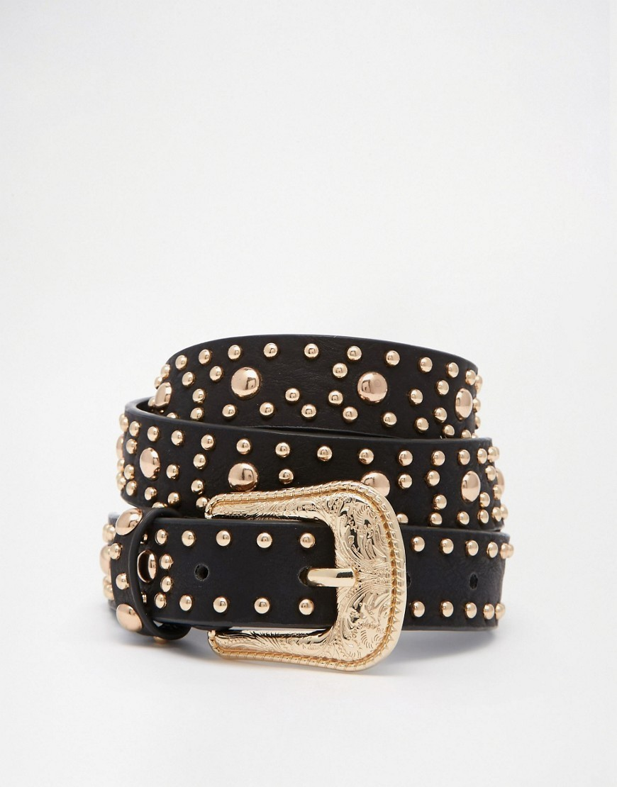Studded Western Jeans Belt Black - secondary colour: gold; predominant colour: black; occasions: casual; type of pattern: light; embellishment: studs; style: classic; size: skinny; worn on: hips; material: faux leather; pattern: plain; finish: plain; season: s/s 2016