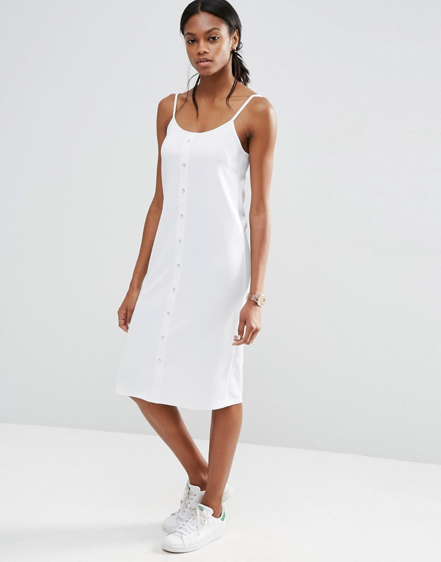 Cami Dress With Button Front In Rib White - style: shift; length: below the knee; sleeve style: spaghetti straps; pattern: plain; predominant colour: white; occasions: casual, holiday; fit: soft a-line; neckline: scoop; fibres: polyester/polyamide - stretch; sleeve length: sleeveless; texture group: cotton feel fabrics; pattern type: fabric; season: s/s 2016; wardrobe: basic