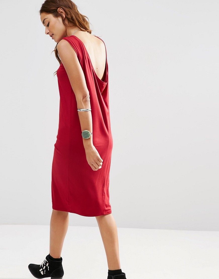 Sleeveless Midi Dress With Cowl Back Red - style: shift; length: below the knee; neckline: slash/boat neckline; pattern: plain; sleeve style: sleeveless; back detail: cowl/draping/scoop at back; predominant colour: true red; occasions: evening; fit: body skimming; fibres: viscose/rayon - stretch; sleeve length: sleeveless; texture group: crepes; pattern type: fabric; season: s/s 2016
