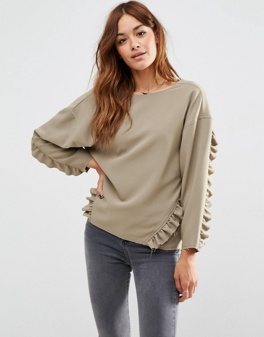 Oversize Top With Ruffle Detail & Raw Edge Khaki - pattern: plain; predominant colour: khaki; occasions: casual; length: standard; style: top; fibres: polyester/polyamide - stretch; fit: loose; neckline: crew; sleeve length: long sleeve; sleeve style: standard; pattern type: fabric; texture group: jersey - stretchy/drapey; season: s/s 2016; wardrobe: basic