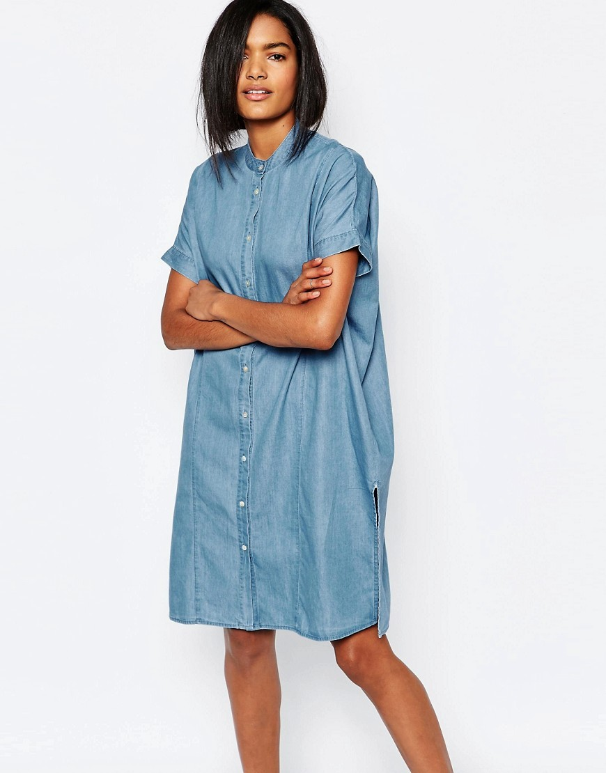 Collarless Denim Shirt Dress Medium Blue Denim - style: shirt; pattern: plain; predominant colour: denim; occasions: casual, creative work; length: just above the knee; fit: soft a-line; neckline: collarstand; fibres: cotton - 100%; sleeve length: short sleeve; sleeve style: standard; texture group: denim; pattern type: fabric; season: s/s 2016; wardrobe: basic