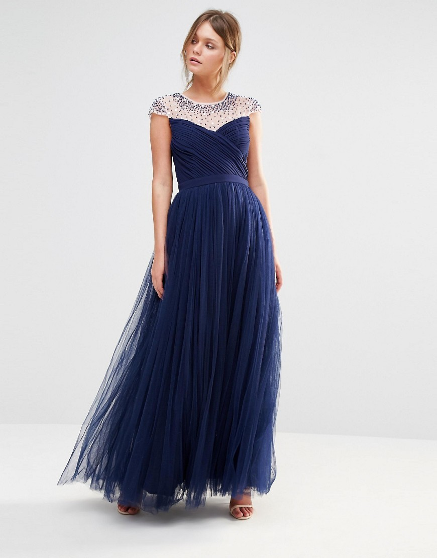 Tulle Maxi Dress With Embellished Trim Navy - neckline: round neck; sleeve style: capped; style: maxi dress; predominant colour: navy; length: floor length; fit: fitted at waist & bust; fibres: polyester/polyamide - 100%; occasions: occasion; hip detail: subtle/flattering hip detail; sleeve length: short sleeve; texture group: sheer fabrics/chiffon/organza etc.; pattern type: fabric; pattern: patterned/print; embellishment: beading; season: s/s 2016; wardrobe: event; embellishment location: shoulder
