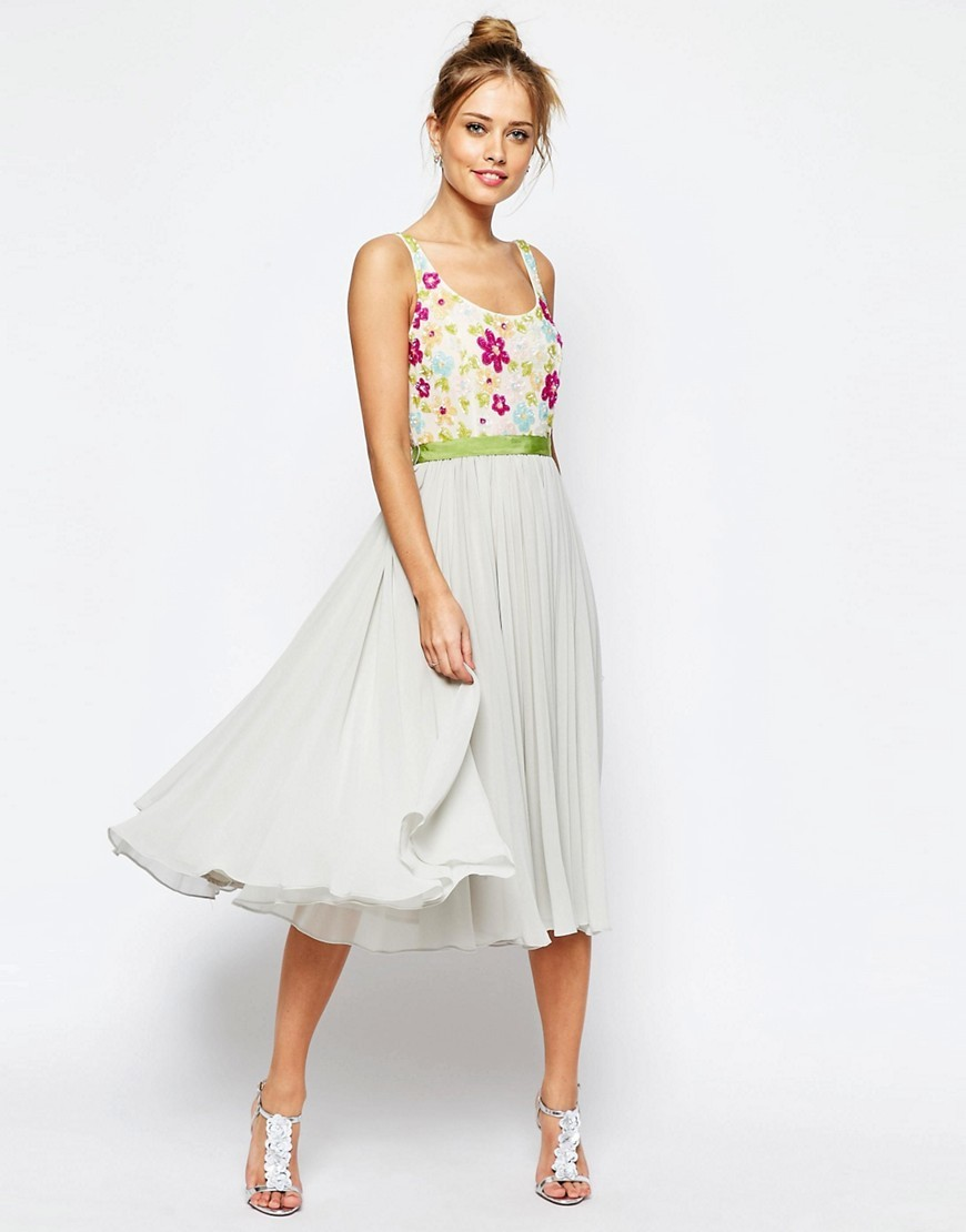 Salon Embellished Floral Bodice Midi Skater Dress With Green Grosgrain Grey - length: below the knee; neckline: round neck; sleeve style: sleeveless; style: full skirt; bust detail: added detail/embellishment at bust; secondary colour: white; predominant colour: light grey; occasions: evening; fit: fitted at waist & bust; fibres: polyester/polyamide - 100%; sleeve length: sleeveless; texture group: sheer fabrics/chiffon/organza etc.; pattern type: fabric; pattern: florals; embellishment: embroidered; multicoloured: multicoloured; season: s/s 2016