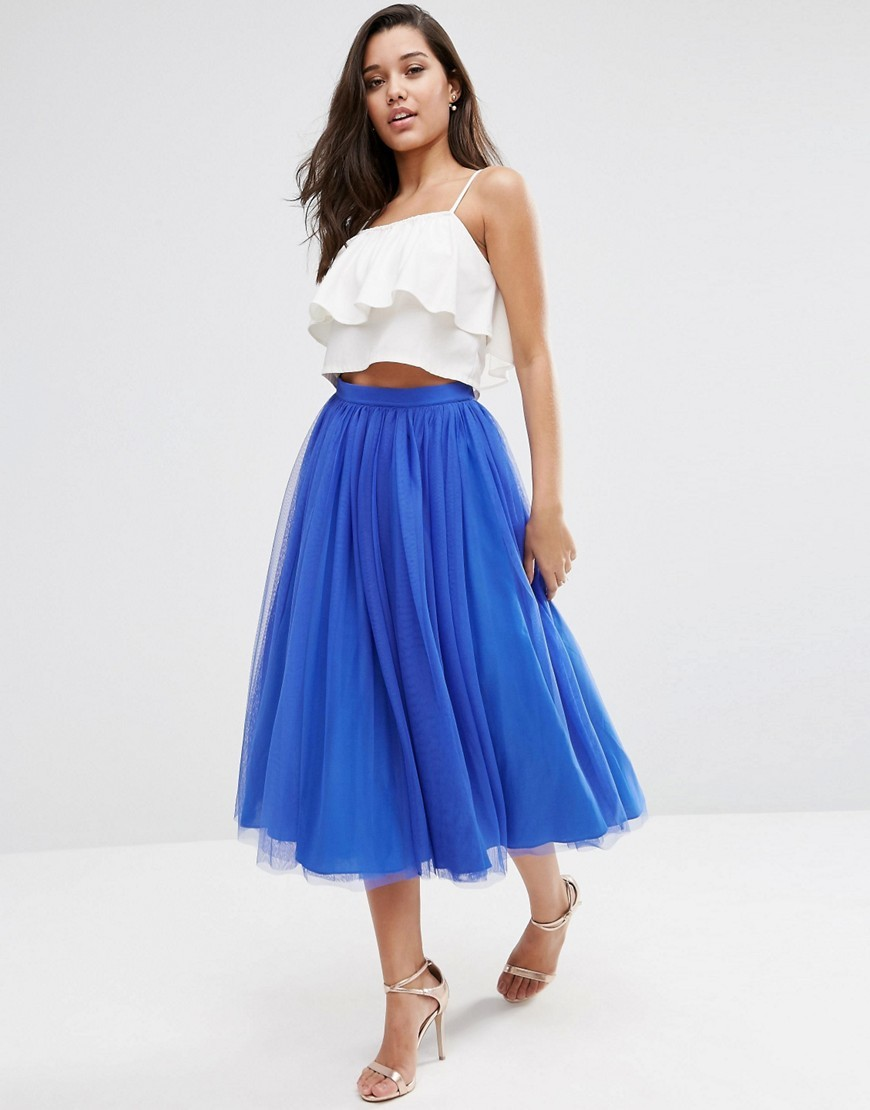 Tulle Prom Skirt With Multi Layers Cobalt - length: below the knee; pattern: plain; style: full/prom skirt; fit: loose/voluminous; waist: high rise; predominant colour: royal blue; fibres: polyester/polyamide - 100%; occasions: occasion; texture group: sheer fabrics/chiffon/organza etc.; pattern type: fabric; season: s/s 2016; wardrobe: event