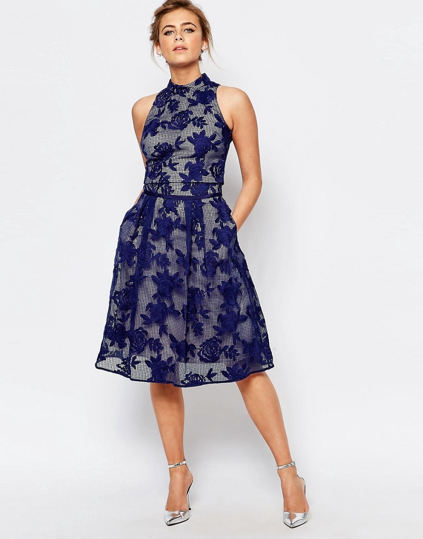 Trellis Embroidered Midi Skirt Navy - length: below the knee; pattern: plain; style: full/prom skirt; fit: loose/voluminous; waist: high rise; predominant colour: navy; fibres: polyester/polyamide - 100%; occasions: occasion; hip detail: soft pleats at hip/draping at hip/flared at hip; pattern type: fabric; texture group: velvet/fabrics with pile; embellishment: embroidered; season: s/s 2016; wardrobe: event