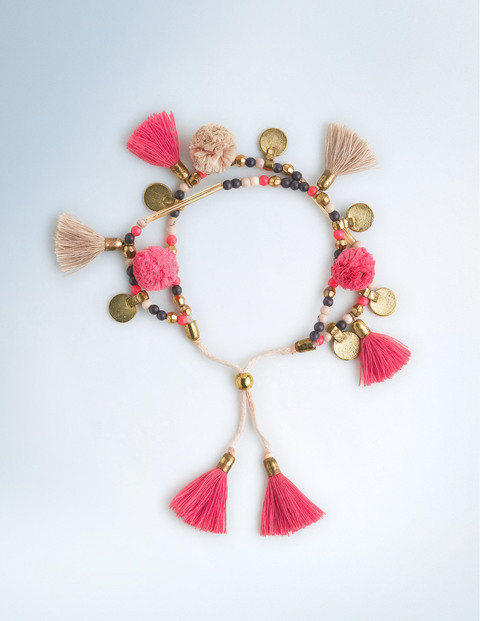 Long Tassel Necklace Camellia/Popcorn Women Boden, Camellia/Popcorn - predominant colour: hot pink; occasions: casual, creative work; style: friendship/tie; size: small/fine; material: fabric/cotton; finish: plain; embellishment: beading; season: s/s 2016; wardrobe: highlight