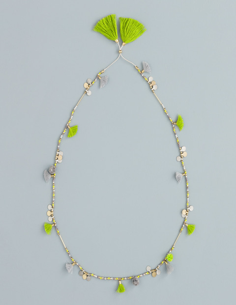Long Tassel Necklace Kiwi/Cygnet Women Boden, Kiwi/Cygnet - predominant colour: lime; secondary colour: gold; occasions: casual, creative work; length: mid; size: standard; material: fabric/cotton; finish: plain; embellishment: beading; season: s/s 2016; style: bead; wardrobe: highlight