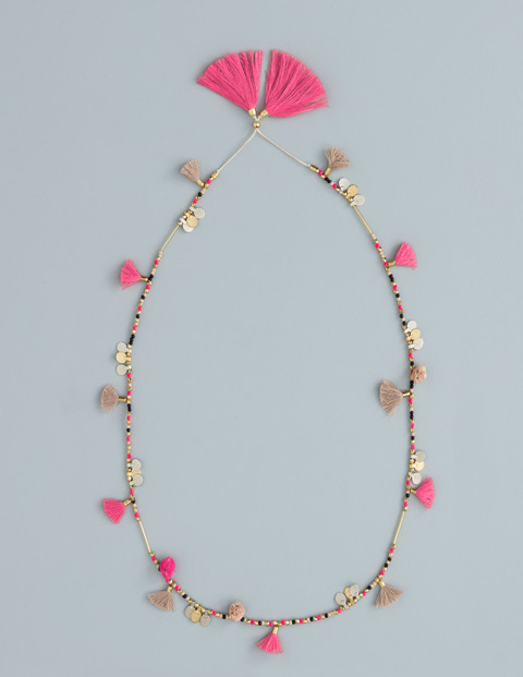 Long Tassel Necklace Camellia/Popcorn Women Boden, Camellia/Popcorn - predominant colour: hot pink; secondary colour: gold; occasions: casual, creative work; length: mid; size: standard; material: fabric/cotton; finish: plain; embellishment: beading; season: s/s 2016; style: bead; wardrobe: highlight