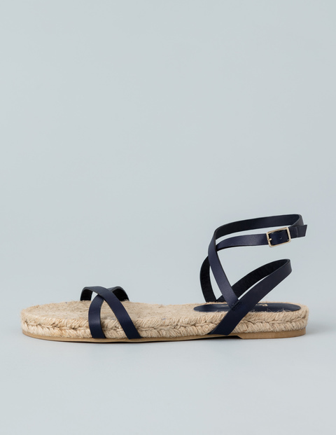 Espadrille Sandal Navy Women, Navy - predominant colour: navy; occasions: casual, holiday; material: leather; heel height: flat; ankle detail: ankle strap; heel: standard; toe: open toe/peeptoe; style: strappy; finish: plain; pattern: plain; season: s/s 2016; wardrobe: basic