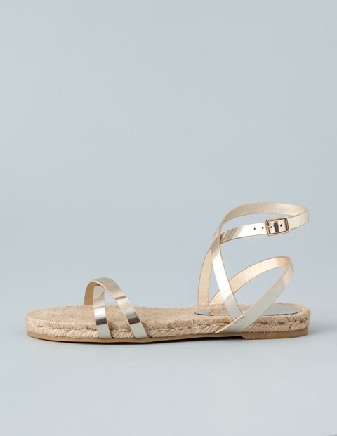 Espadrille Sandal Gold Mirror Metallic Women, Gold Mirror Metallic - predominant colour: gold; occasions: casual, holiday; material: leather; heel height: flat; ankle detail: ankle strap; heel: standard; toe: open toe/peeptoe; style: strappy; finish: metallic; pattern: plain; season: s/s 2016; wardrobe: basic