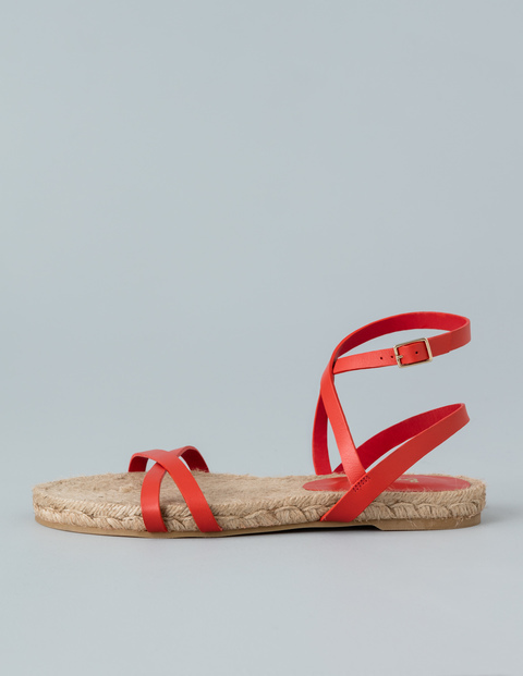 Espadrille Sandal Coral Women, Coral - predominant colour: true red; occasions: casual, holiday; material: leather; heel height: flat; ankle detail: ankle strap; heel: block; toe: open toe/peeptoe; style: strappy; finish: plain; pattern: plain; season: s/s 2016; wardrobe: highlight