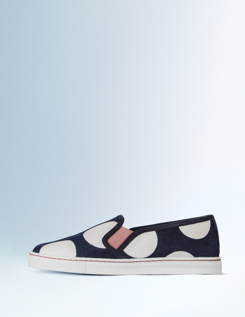Slip On Trainer Navy Spot Print Women, Navy Spot Print - secondary colour: ivory/cream; predominant colour: navy; occasions: casual; material: fabric; heel height: flat; toe: round toe; finish: plain; pattern: polka dot; style: skate shoes; season: s/s 2016; wardrobe: highlight