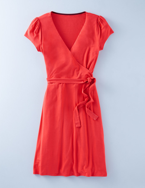 Summer Wrap Dress Carmine Women, Carmine - style: faux wrap/wrap; neckline: v-neck; pattern: plain; waist detail: belted waist/tie at waist/drawstring; predominant colour: bright orange; occasions: casual; length: just above the knee; fit: body skimming; fibres: viscose/rayon - stretch; sleeve length: short sleeve; sleeve style: standard; pattern type: fabric; texture group: jersey - stretchy/drapey; season: s/s 2016; wardrobe: highlight