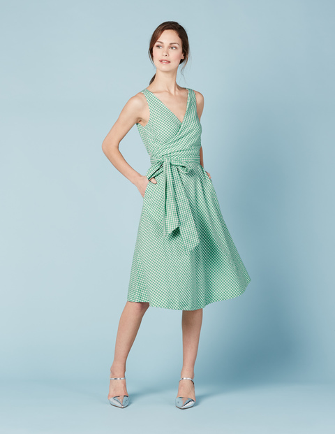Riviera Dress Jade Green Gingham Women, Jade Green Gingham - style: faux wrap/wrap; length: below the knee; neckline: low v-neck; pattern: plain; sleeve style: sleeveless; waist detail: belted waist/tie at waist/drawstring; predominant colour: pistachio; occasions: evening; fit: body skimming; fibres: linen - mix; sleeve length: sleeveless; pattern type: fabric; texture group: other - light to midweight; season: s/s 2016