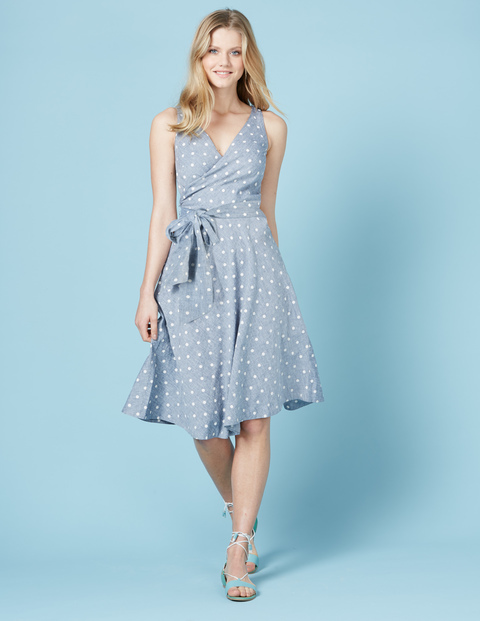 Riviera Dress Chambray Spot Women, Chambray Spot - style: faux wrap/wrap; neckline: v-neck; sleeve style: sleeveless; pattern: polka dot; waist detail: belted waist/tie at waist/drawstring; secondary colour: white; predominant colour: pale blue; occasions: evening; length: on the knee; fit: body skimming; fibres: linen - mix; sleeve length: sleeveless; pattern type: fabric; texture group: other - light to midweight; multicoloured: multicoloured; season: s/s 2016; trends: vintage chic