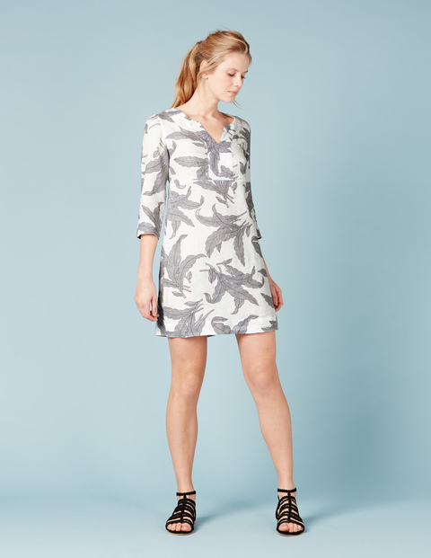 Casual Linen Tunic Dress Blue, Ivory Mono Tropical Leaf - style: shift; length: mini; neckline: v-neck; predominant colour: ivory/cream; secondary colour: mid grey; occasions: casual, occasion; fit: body skimming; fibres: linen - 100%; sleeve length: 3/4 length; sleeve style: standard; pattern type: fabric; pattern: florals; texture group: other - light to midweight; multicoloured: multicoloured; season: s/s 2016; wardrobe: highlight