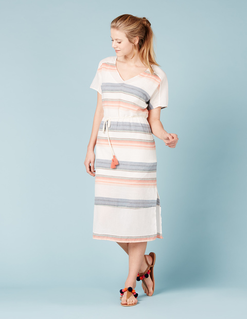 Francesca Summer Dress Stripe Women, Stripe - style: shift; length: calf length; neckline: v-neck; pattern: horizontal stripes; waist detail: belted waist/tie at waist/drawstring; predominant colour: ivory/cream; secondary colour: denim; occasions: casual; fit: body skimming; fibres: cotton - 100%; sleeve length: short sleeve; sleeve style: standard; pattern type: fabric; texture group: woven light midweight; multicoloured: multicoloured; season: s/s 2016; wardrobe: highlight