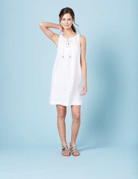 Anna Tunic Dress White Women, White - style: tunic; neckline: v-neck; pattern: plain; sleeve style: sleeveless; predominant colour: white; occasions: casual; length: just above the knee; fit: body skimming; fibres: linen - 100%; sleeve length: sleeveless; pattern type: fabric; texture group: other - light to midweight; season: s/s 2016; wardrobe: basic