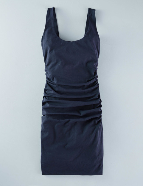 Scoop Neck Ruched Dress Navy Women, Navy - length: mid thigh; neckline: round neck; pattern: plain; sleeve style: sleeveless; style: vest; predominant colour: navy; occasions: casual; fit: body skimming; fibres: cotton - stretch; sleeve length: sleeveless; pattern type: fabric; texture group: jersey - stretchy/drapey; season: s/s 2016