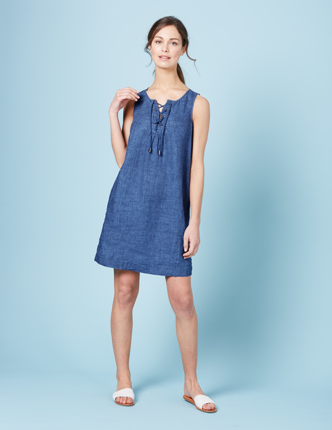 Anna Tunic Dress Vintage Denim Linen Women, Vintage Denim Linen - style: tunic; neckline: v-neck; fit: loose; pattern: plain; sleeve style: sleeveless; predominant colour: navy; occasions: casual; length: just above the knee; fibres: linen - 100%; sleeve length: sleeveless; texture group: denim; pattern type: fabric; season: s/s 2016; wardrobe: basic