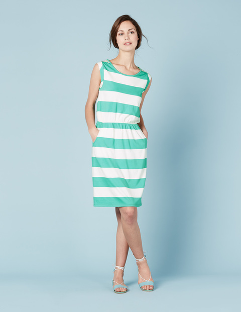 Blackberry Summer Dress Jade/Ivory Women, Jade/Ivory - style: shift; pattern: horizontal stripes; sleeve style: sleeveless; secondary colour: white; predominant colour: mint green; occasions: casual; length: on the knee; fit: body skimming; fibres: cotton - mix; neckline: crew; sleeve length: sleeveless; pattern type: fabric; texture group: jersey - stretchy/drapey; multicoloured: multicoloured; season: s/s 2016