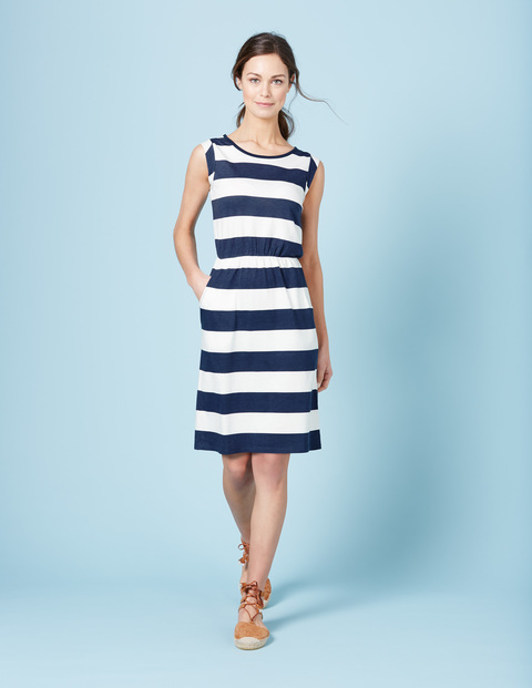 Blackberry Summer Dress Indigo Marl/Ivory Women, Indigo Marl/Ivory - style: shift; pattern: horizontal stripes; sleeve style: sleeveless; secondary colour: white; predominant colour: navy; occasions: casual; length: on the knee; fit: body skimming; fibres: cotton - mix; neckline: crew; sleeve length: sleeveless; pattern type: fabric; texture group: jersey - stretchy/drapey; multicoloured: multicoloured; season: s/s 2016; wardrobe: basic