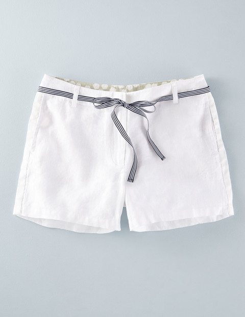 Izzie Linen Short White Women, White - pattern: plain; waist detail: belted waist/tie at waist/drawstring; waist: mid/regular rise; predominant colour: white; occasions: casual, holiday; fibres: linen - 100%; texture group: linen; pattern type: fabric; season: s/s 2016; style: shorts; length: short shorts; fit: slim leg; wardrobe: holiday