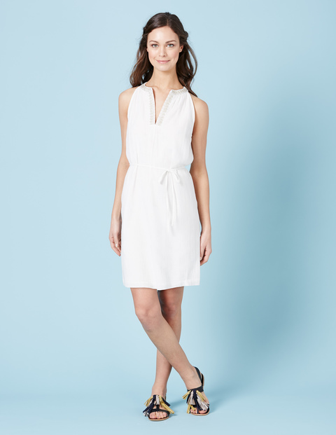 Aimee Sun Dress Ivory W/Gold Women, Ivory W/Gold - style: shift; neckline: v-neck; fit: fitted at waist; pattern: plain; sleeve style: sleeveless; predominant colour: ivory/cream; occasions: casual, creative work; length: just above the knee; fibres: cotton - 100%; sleeve length: sleeveless; texture group: cotton feel fabrics; pattern type: fabric; season: s/s 2016; wardrobe: basic